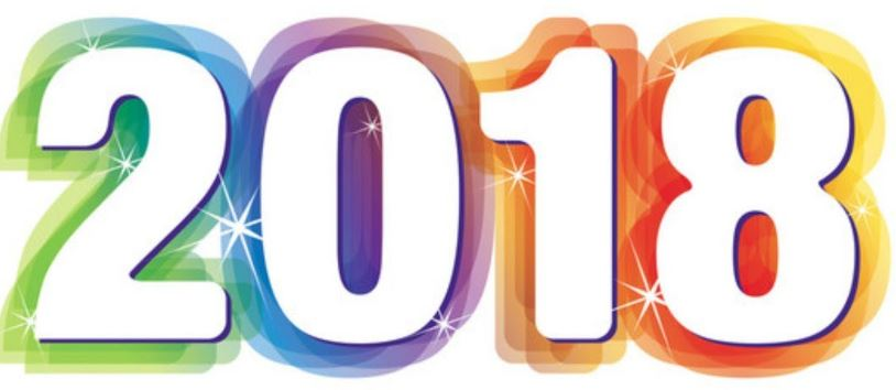 Image shows a colourful image of the numbers 2018