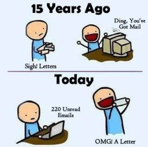 Cartoon highlighting the excitement of lumpy direct mail