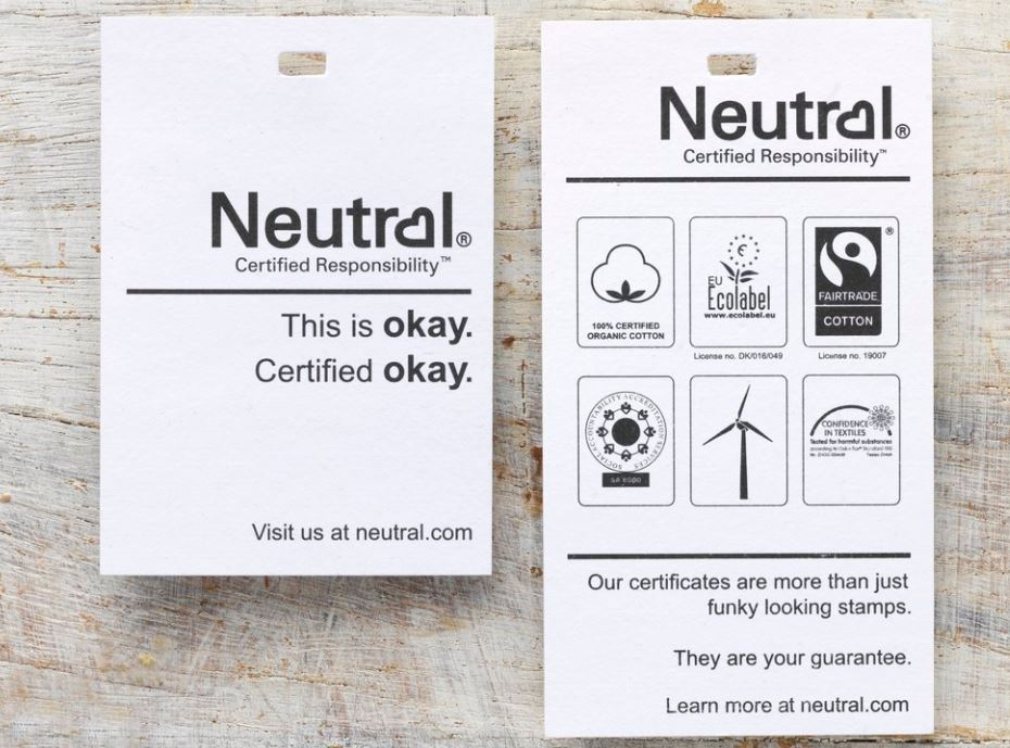 Image shows the Neutral brand of clothing label and eco credentials