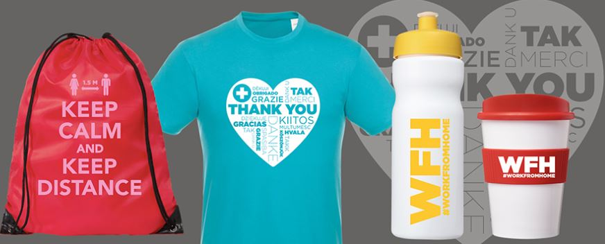Image shows a range of promotional products that communicate messages to staff and customers during the Coronavirus