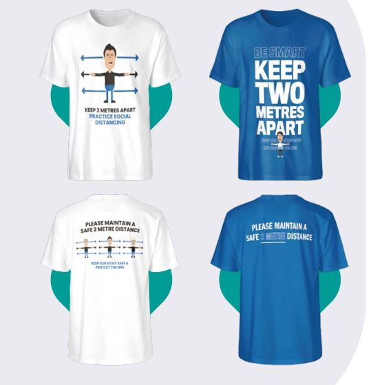 Image shows printed t-shirts a promotional product that communicates social distancing during the Coronavirus