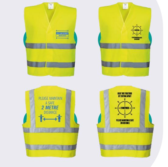 Image shows printed Hi Viz Jackets a promotional product that communicates social distancing during the Coronavirus